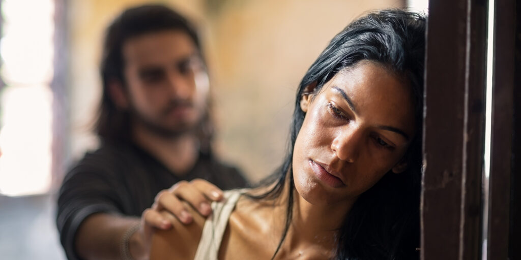 sad woman in an abusive relationshipe